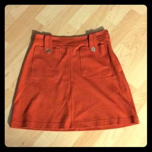 Rust mini skirt, 2 front pockets, EUC